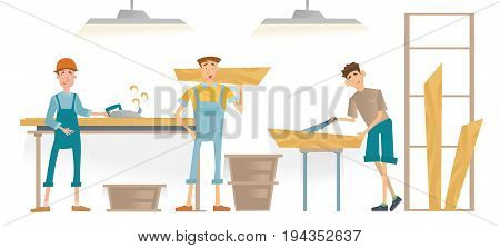 Men working in a carpentry workshop. Furniture manufacturing, woodworking. Vector illustration isolated on white background.