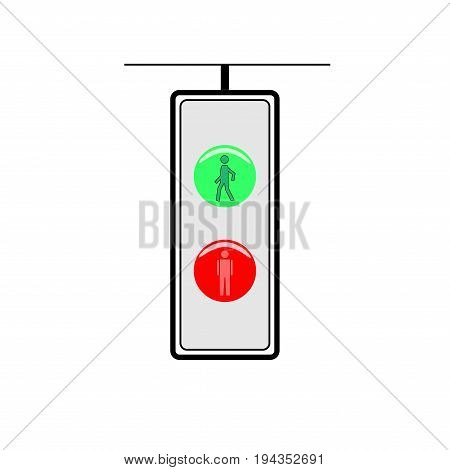 Crosswalk sign. Icon traffic light on white background. Flat vector illustration