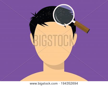 human male face white dot dandruff with magnifying glass vector poster