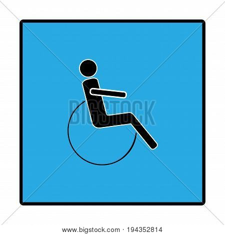 Disabled sign in blue square. Mark of disability. Icon a place open passage. Symbol paralyzed and human on wheelchair. Vector illustration