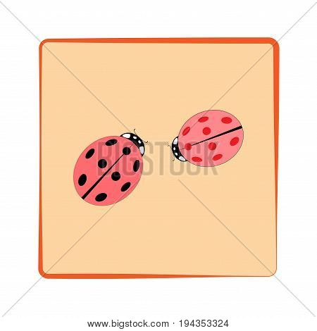 Ladybird isolated. Illustration ladybug in green frame. Cute colorful sign pink insect symbol spring summer garden. Template for t shirt apparel card poster. Design element Vector illustration