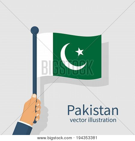Pakistan flag holding in hand man. Independence Day is national holiday of Pakistan. Celebrated annually. Vector illustration flat design. Isolated on white background. August 14th.