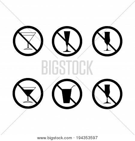 No drinks set. Silhouette black wineglass in black circle. Sign no alcohol on white background. Label notice no do wine. Symbol forbidden beverage. Mark warning. Flat image. Vector illustration
