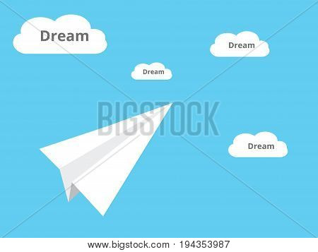 catching a dream illustration with plane paper and dream cloud vector