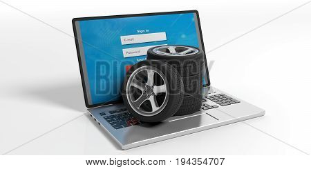 Car Tires And Rims On A Laptop - White Background. 3D Illustration