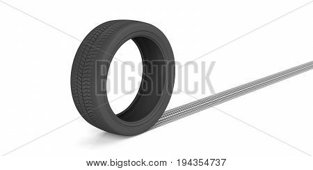 Car tire and track on white background. 3d illustration