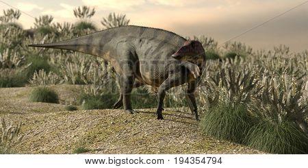 3d rendering of the grazing shuangmiaosaurus