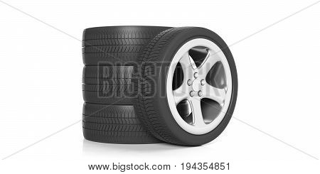 Car Tires And Rims On White Background. 3D Illustration