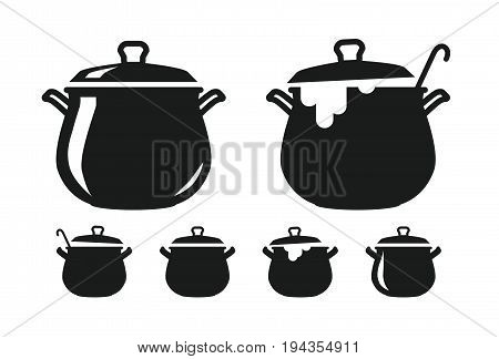 Pot of soup, pan silhouette. Cooking, cuisine, cookery, culinary art icon or logo. Vector illustration isolated on white background