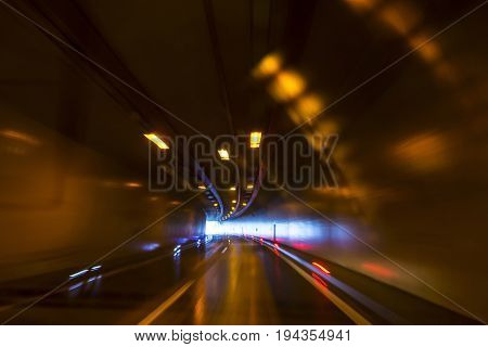 tunnel on the highway - motion picture