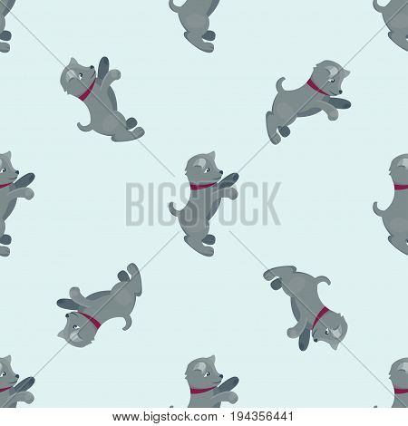 Vector illustration cute dogs characters seamless pattern of funny purebred puppy comic smile happy mammal breed drawing. Pedigree terrier canine adorable animal.