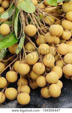 Fresh longan is delicious Thai fruit at market