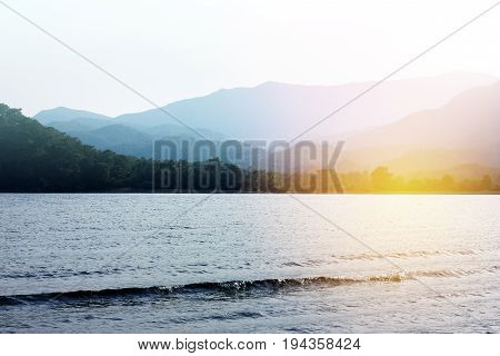 Scenic View On Mountains With Seascape