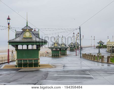 Victorian weather Shelter huts on Blackpool Promenade,Lancashire,UK.