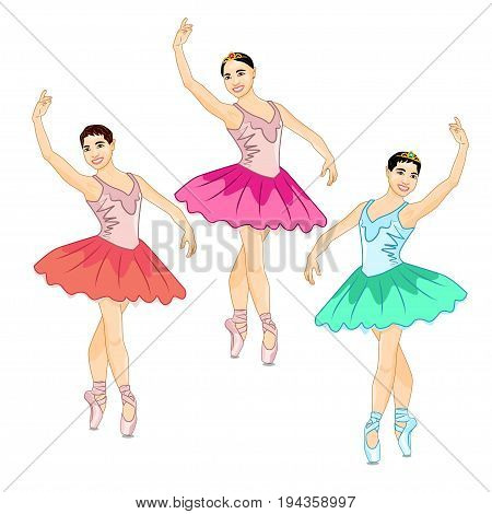Photorealistic vector illustration of the beautiful Prima Ballerina in the Croise Pose. Three colorful ballerinas stand cross-legged on their fingers and lift one arm up over their heads in a dance pose
