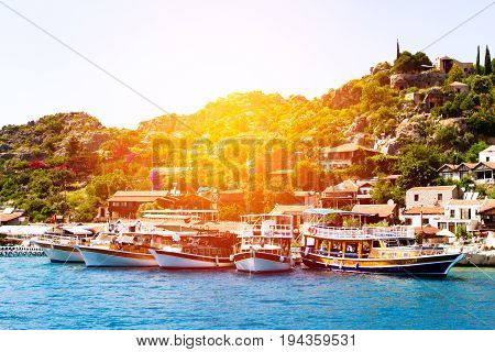 View On Bay With Yachts And Boats