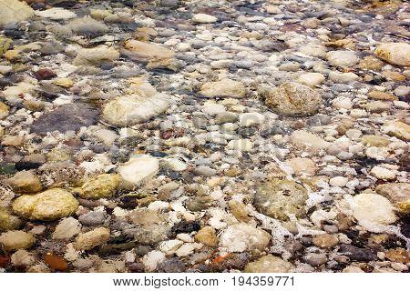 Pebble Stones Under Transparent Water