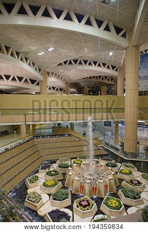Riyadh - August 24:  Riyadh King Khalid Airport on August 24, 2016 in Riyadh, Saudi Arabia. Riyadh airport is home port for Saudi Arabian Airlines.