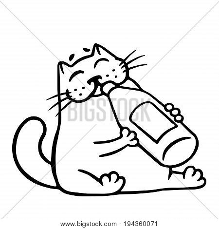 Cute cat drinks lemonade. Funny cartoon cool character. Contour freehand digital drawing. White color background. Cheerful pet for web. Isolated vector illustration.