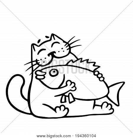 Cat hugging big fish. Cartoon cool character. Contour freehand digital drawing. Isolated vector illustration.