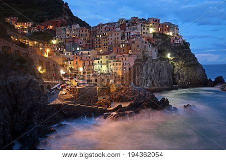 Dusk in Manarola, Cinque Terre, Italy. One of the five coast towns in Italy.