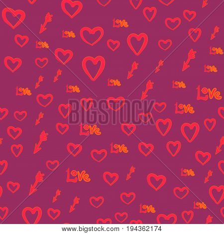 Valentines day design. Seamless vector pattern with hearts love word and arrows.