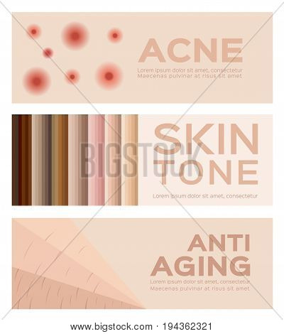 acne , skin tone and anti aging vector . 3 banner set