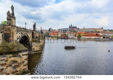 Panoramic view of Prague castle charles bridge and Vltava river in Prague at sunlight Czech Republic