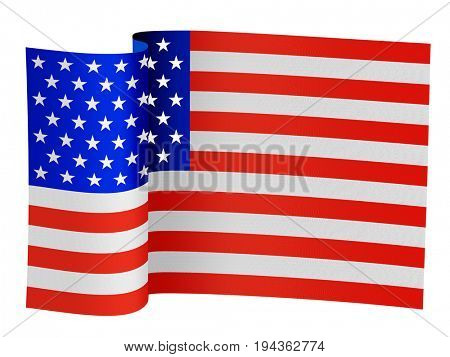 illustration of the USA flag on a white background