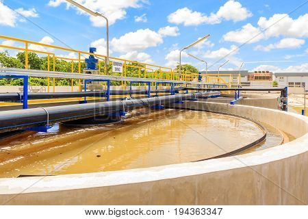 The Solid Contact Clarifier Tank type Sludge Recirculation process in Water Treatment plant Modern urban wastewater treatment plant.