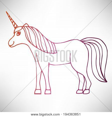 Cute hand drawn full-length smiling unicorn in profile of colorful thin line contour isolated on white background. Vector illustration.