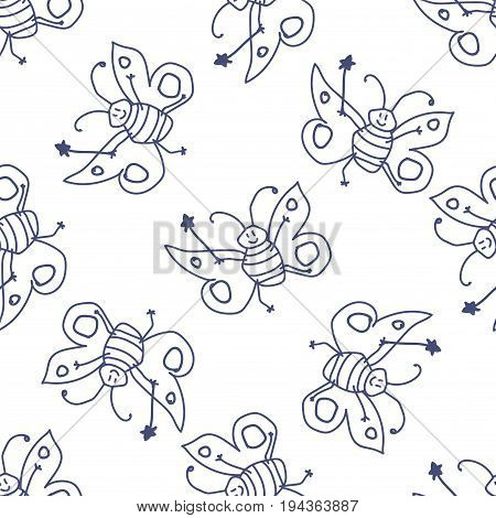 Seamless pattern with thin line doodle happy butterfly fairy sorceress on white background. Vector illustration.