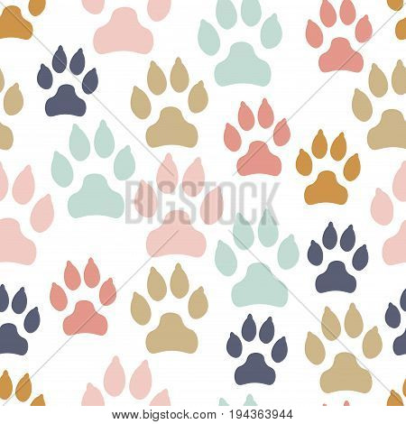 Colorful messy dog track seamless pattern isolated on white background. Canine footprints. Vector illustration.