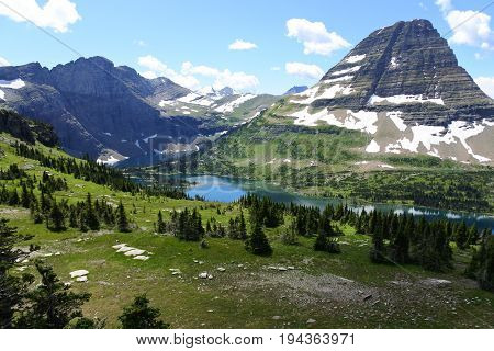 This is the famous view of Hidden Lake in Glacier National Park in the state of Montana