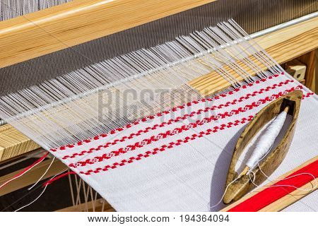 weaving loom with linen handmade , handicraft