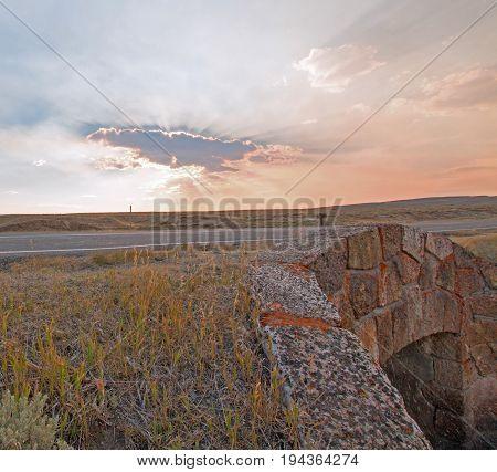 Sunrays Through Sunset Clouds In Hayden Valley At The Elk Antler Creek Stone Bridge Where Elk Antler