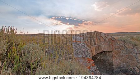 Sunrays Through Sunset Clouds In Hayden Valley At The Elk Antler Creek Stone Bridge Where Elk Antler