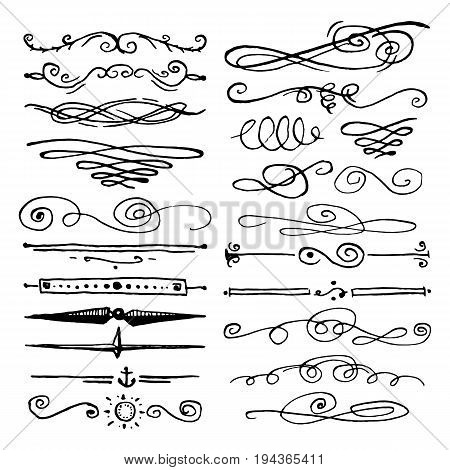 Huge pack or set engraved hand drawn in old or antique sketch style, vintage flourishes calligraphic design elements decorations. logo or emblems, retro label and badge. ornaments and monograms