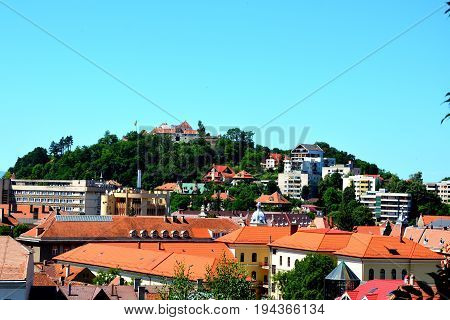 Aerial view of the town. Typical urban landscape of the city Brasov, a town situated in Transylvania, Romania, in the center of the country. 300.000 inhabitants.