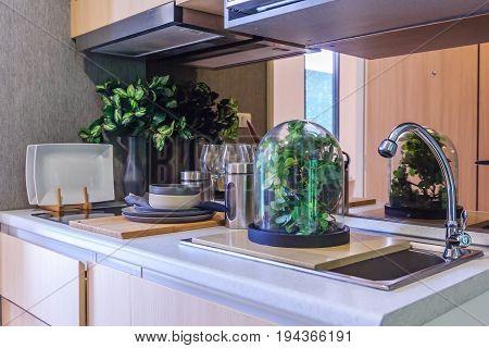 Kitchen utensils decor and kitchenware in the modern kitchen interior close-up