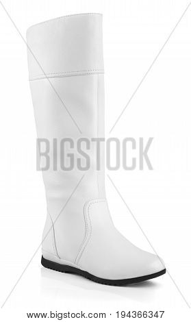 Female White Leather Boots On White