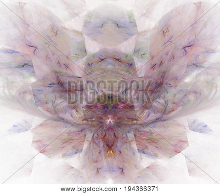 White Abstract Background With Hexagonal Orchid Petals Texture. Purple Symmetrical Fractal Flower Sh