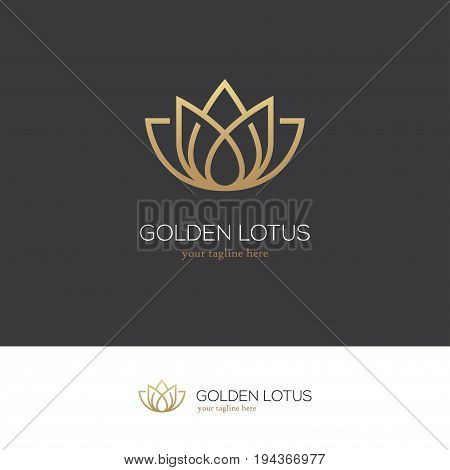 Linear lotus icon. Yoga center spa beauty salon luxury logo. Golden flower symbol.