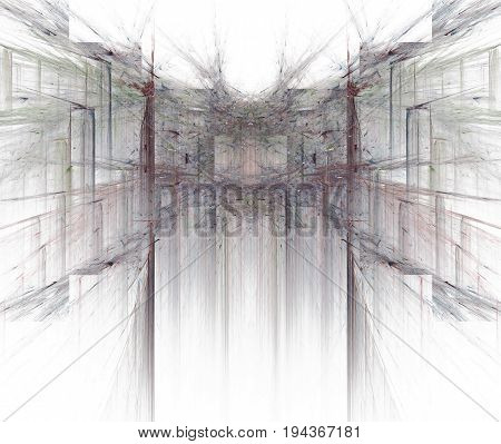 White Abstract Background With Blurred And Sharp Rays Texture. Black And Grey Symmetrical Fractal Pa