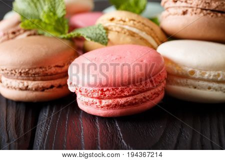 Background Of Colored Macaroons In The Assortment, Macro. Horizontal