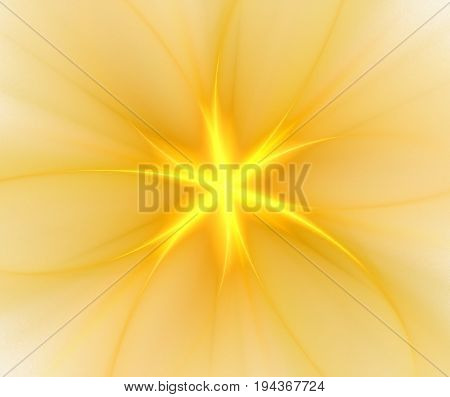 Abstract white background with yellow radial pattern. Centered flower or star with rays texture fractal