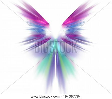 White abstract background with wings texture. Purple symmetrical fractal rays shaped pattern.