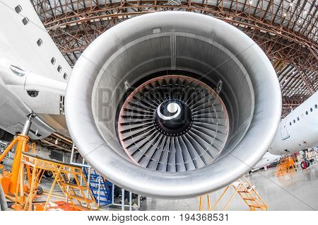 Aircraft Engine Near The Repair, Inspection Blades Of The Blade
