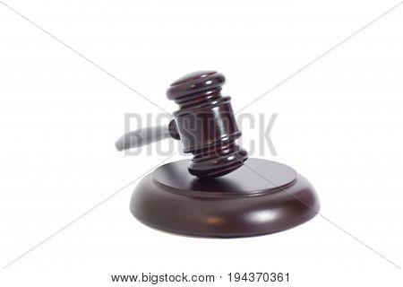 Wooden Judge Gavel And Soundboard Isolated On A White Background