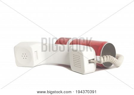 Tin Can Phone With Handset Isolated On White Background